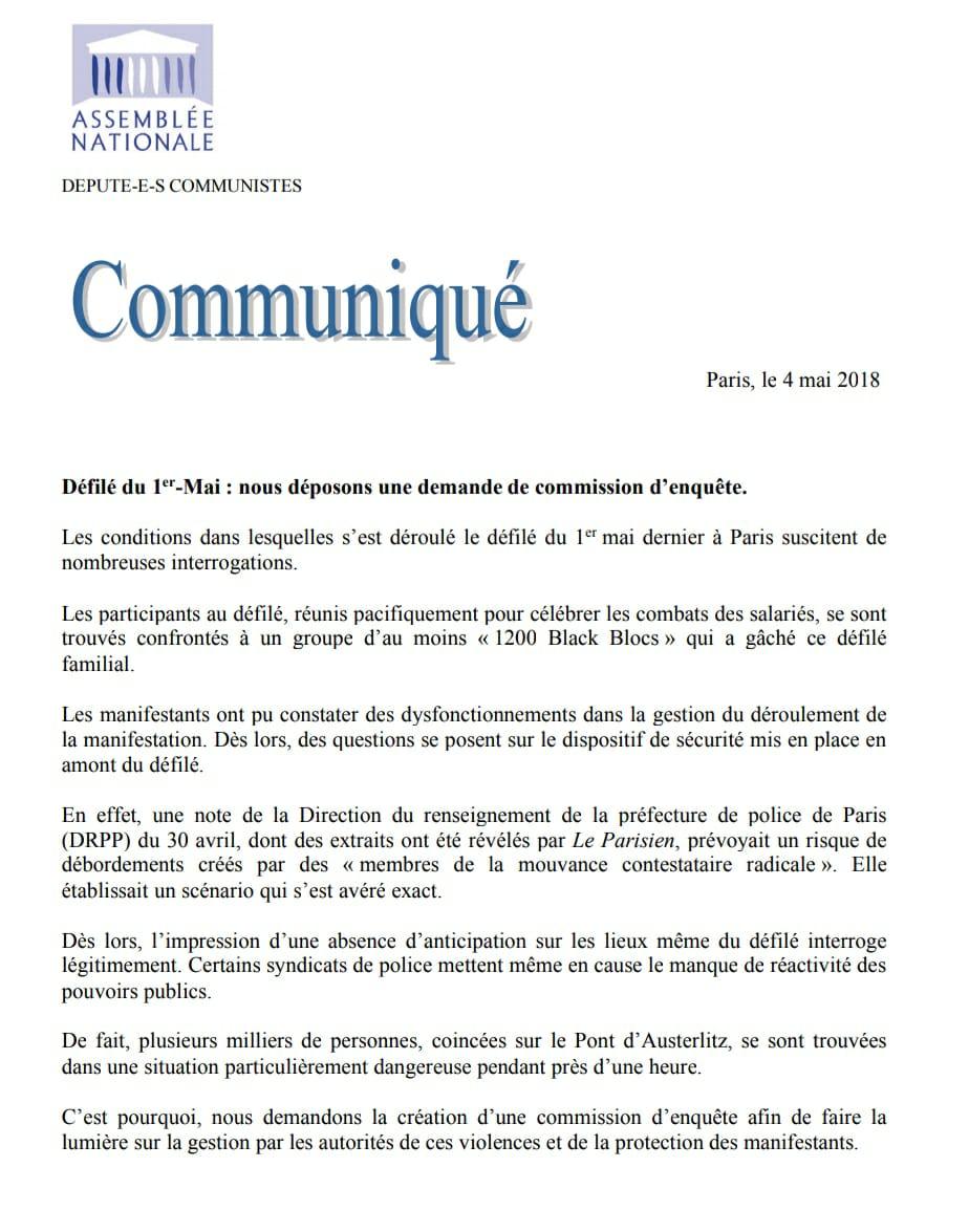 Défilé Du 1er Mai : Demande De Commission D'enquête Parlementaire