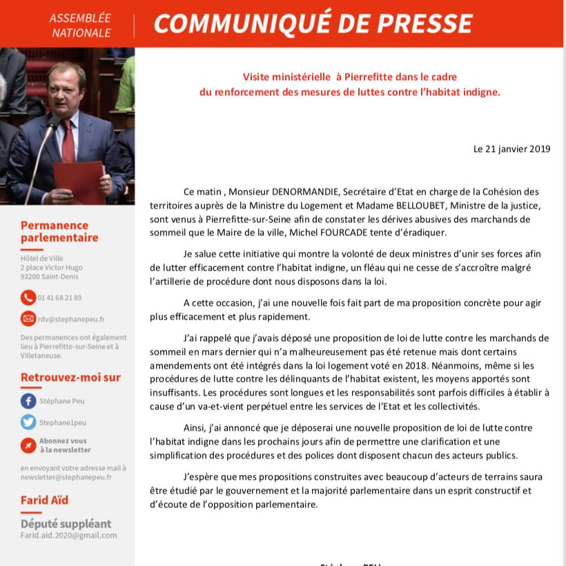 Visite Ministérielle à Pierrefitte Dans Le Cadre Du Renforcement Des Mesures De Luttes Contre L'habitat Indigne