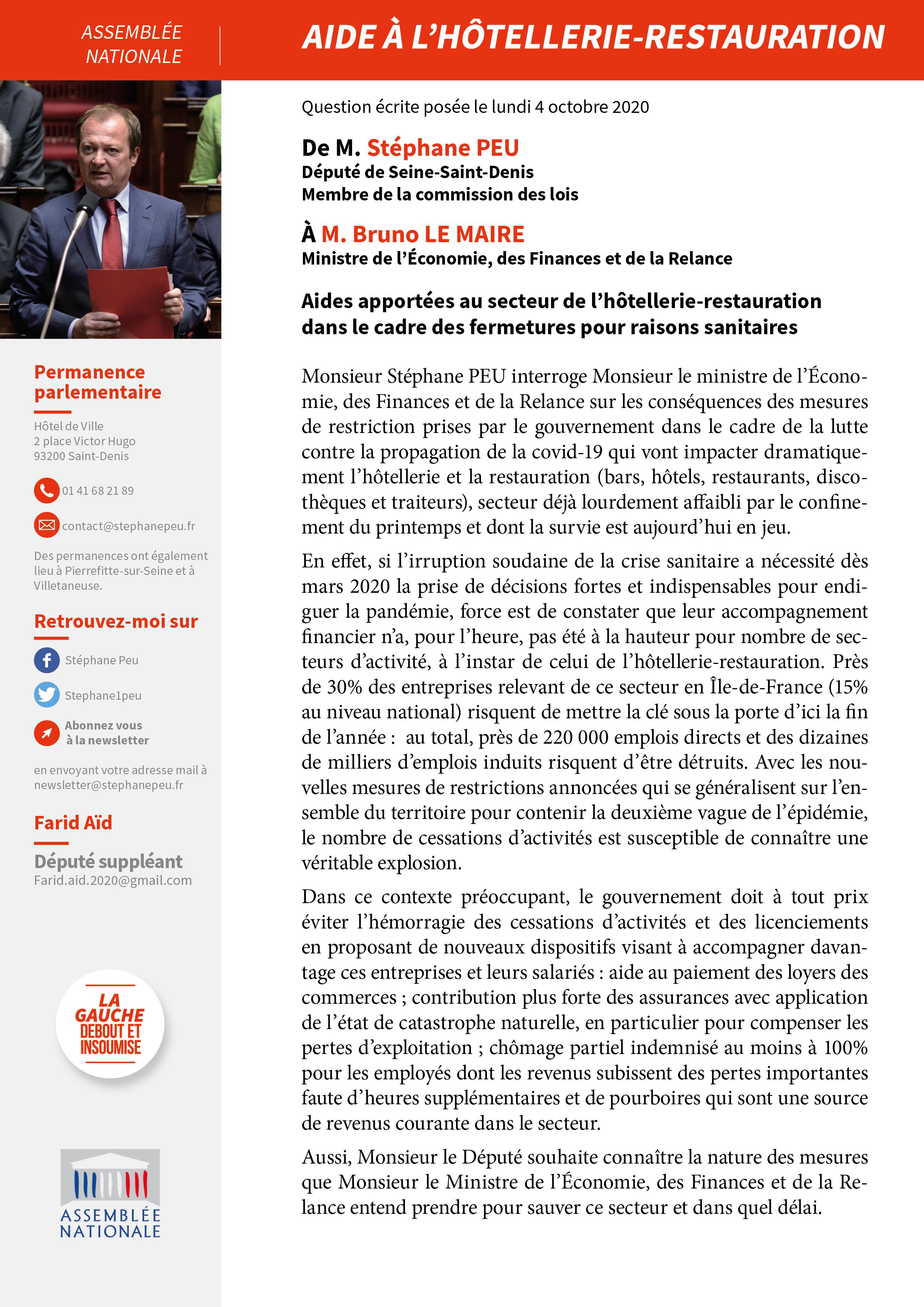 Aides Apportées Au Secteur De L'hôtellerie-restauration Dans Le Cadre Des Fermetures Pour Raisons Sanitaires