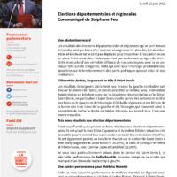 Élections Départementales Et Régionales : Communiqué De Stéphane Peu