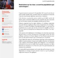 Restrictions Sur Les Visas : Ce Sont Les Populations Qui Vont Trinquer !